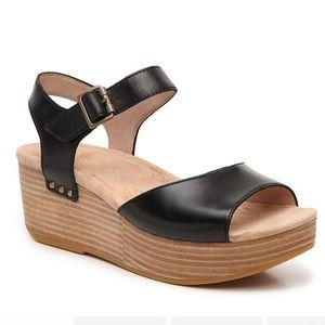 Dansko Silvie Wedge Sandal Black Leather Platform